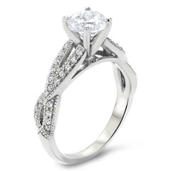 Criss Cross Diamond Engagement Ring Moissanite Engagement Ring  - Lexi - Moissanite Rings