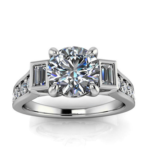 Modern Engagement Ring - Amsterdam Round - Moissanite Rings