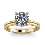 Diamond Banded Solitaire Engagement Ring - Isabel - Moissanite Rings