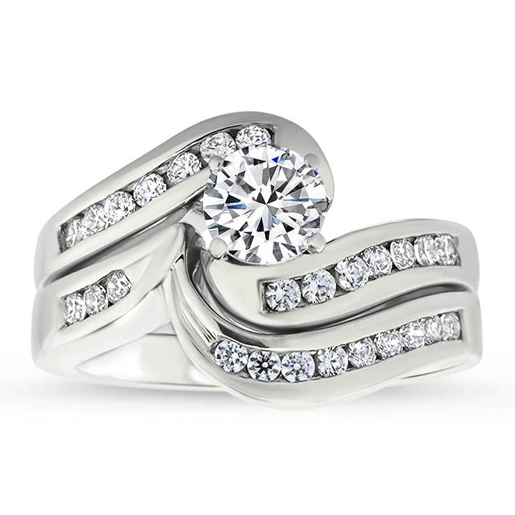 white front gold rings set band diamond ring channel engagement