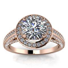 Diamond Halo Round Center Moissanite Engagement Ring - Valentina Round - Moissanite Rings
