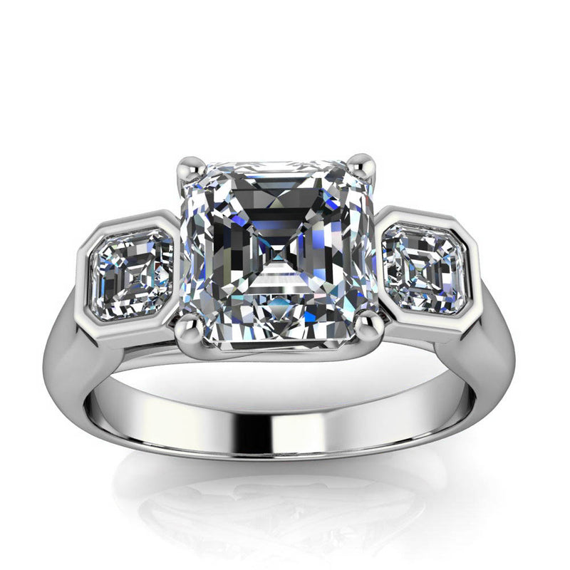 Three Stone Asscher Cut Engagement Ring - Mary - Moissanite Rings