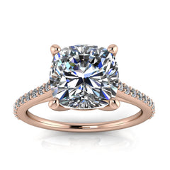 8 mm Cushion Cut Forever One Moissanite and Diamond Engagement Ring - Keeley - Moissanite Rings