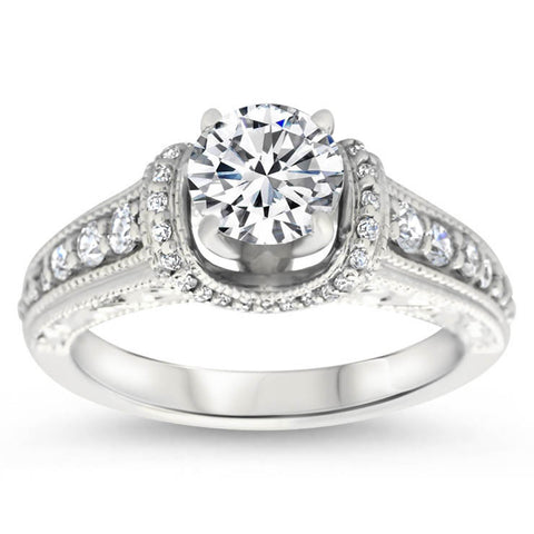 Vintage Inspired Engagment Ring - Vanna - Moissanite Rings