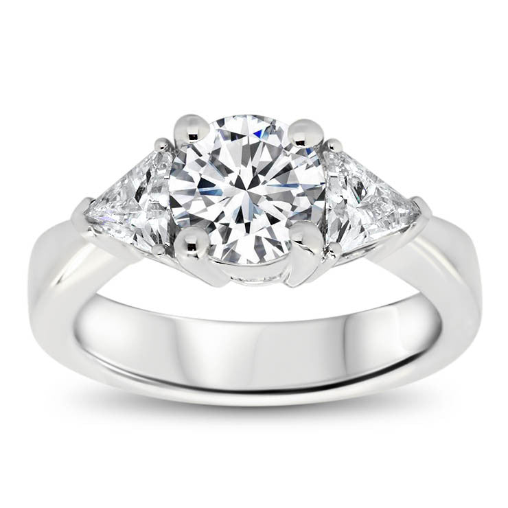 Three Stone Trillion Engagement Ring - Bethanny - Moissanite Rings