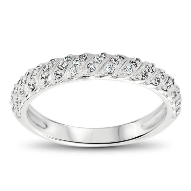 Diamond Accented Wedding Band - Striped Band - Moissanite Rings