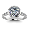 Diamond Bezel Set Moissanite Engagement Ring - Cherish Julie Platinum - Moissanite Rings
