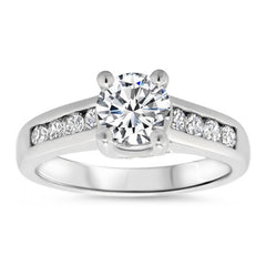 Channel Set Forever One  Moissanite Engagement Ring - Gele - Moissanite Rings