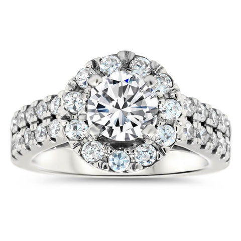 Double Band Diamond Setting Moissanite Center Halo Engagement Ring - Mira - Moissanite Rings