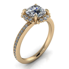 Vintage Inspired Moissanite Diamond Halo Engagement Ring - Darby
