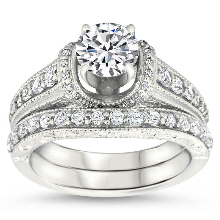 Vintage Inspired Wedding Set Engagement Ring and Band - Vanna Set - Moissanite Rings