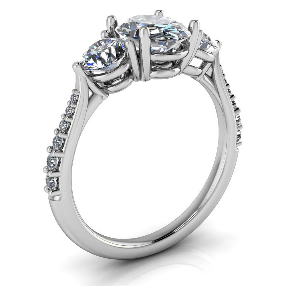 Three Stone Diamond Accent Engagement Ring Oval Moissanite - Magdalena - Moissanite Rings