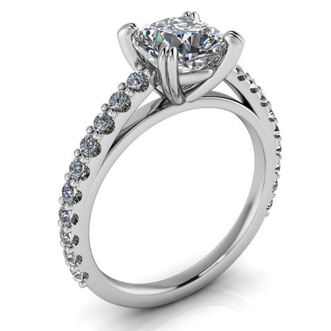 Diamond Engagement Ring Setting Cushion Cut Moissanite Center - Esther - Moissanite Rings