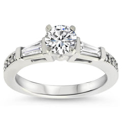 Tapered Baguette Diamond Set Engagement Ring and Wedding Band - Maxine Wedding Set - Moissanite Rings