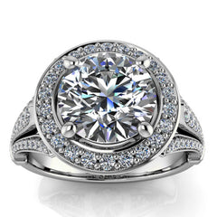Diamond Halo Moissanite Engagement Ring - Faye - Moissanite Rings