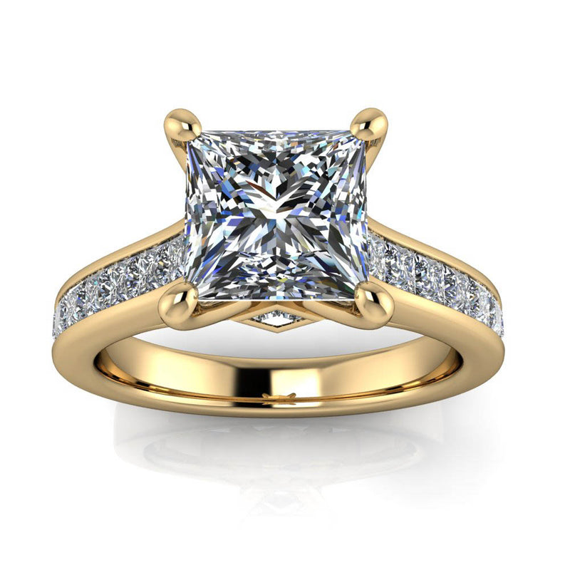 Princess Cut Channel Set Engagement Ring - Ruth - Moissanite Rings