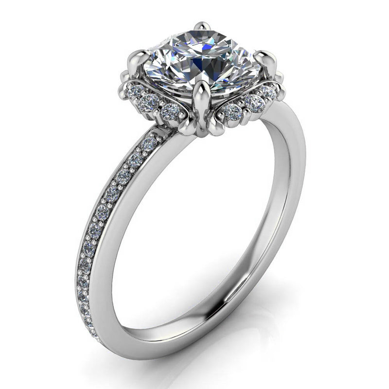 Vintage Inspired Moissanite Diamond Halo Engagement Ring - Darby - Moissanite Rings