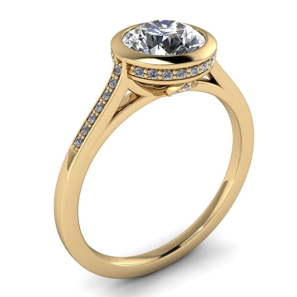 Diamond Bezel Set Moissanite Engagement Ring - Cherish Julie 14k Gold - Moissanite Rings