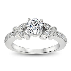 Diamond Butterfly Style Engagmeent Ring and Matching Band  - Butterfly Kisses Wedding Set