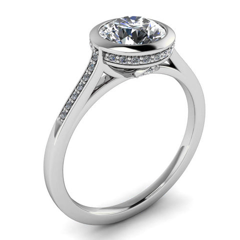 Diamond Bezel Set Moissanite Engagement Ring - Cherish - Moissanite Rings