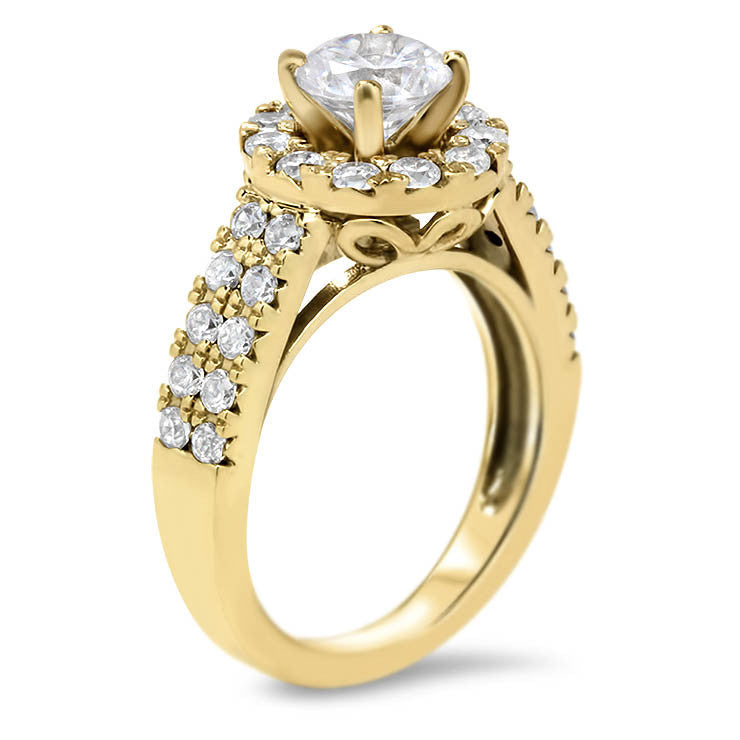Double Band Diamond Setting Halo Engagement Ring - Mira - Moissanite Rings