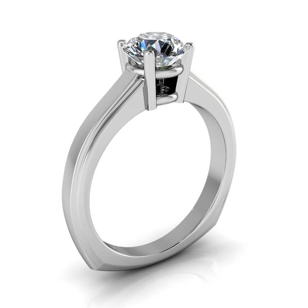 Moissanite Solitaire Engagement Ring Euro Shank - Alissa - Moissanite Rings