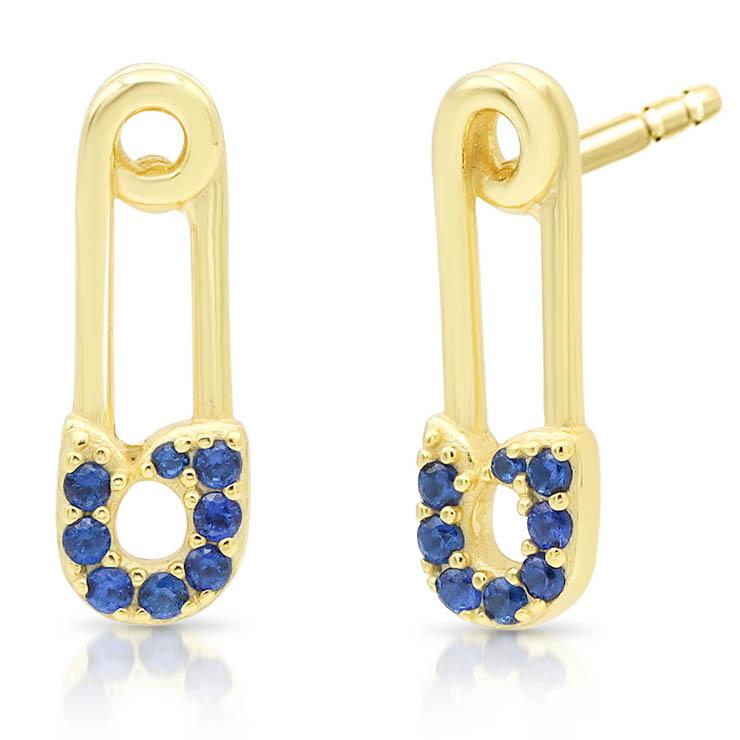 Blue Sapphire Safety Pin Earrings