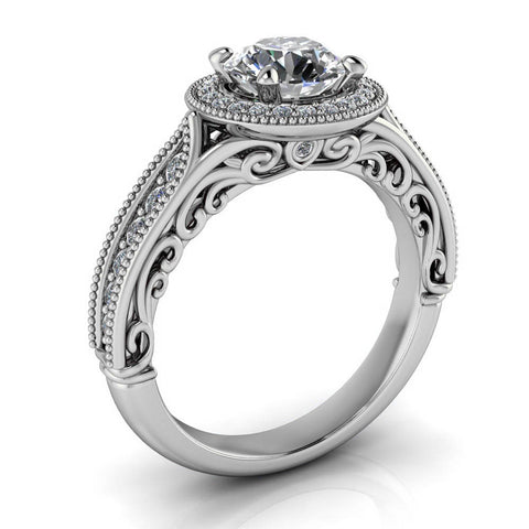 Vintage Halo Moissanite Engagement Ring - Ophelia