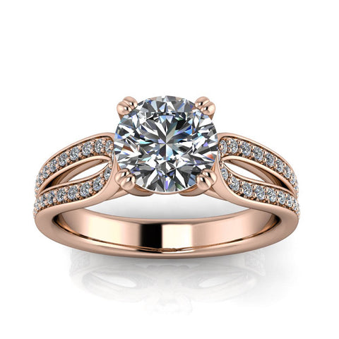 Diamond and Moissanite Engagement Ring - Ada - Moissanite Rings
