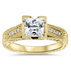 Princess Cut Vintage Inspired Engagement Ring - Lydia - Moissanite Rings