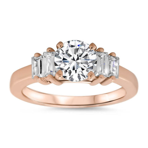 Straight Baguette Diamond Side Stone Engagement Ring - Allure - Moissanite Rings