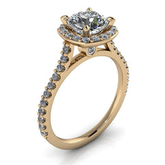 Diamond Halo Moissanite Engagement Ring - Danica - Moissanite Rings