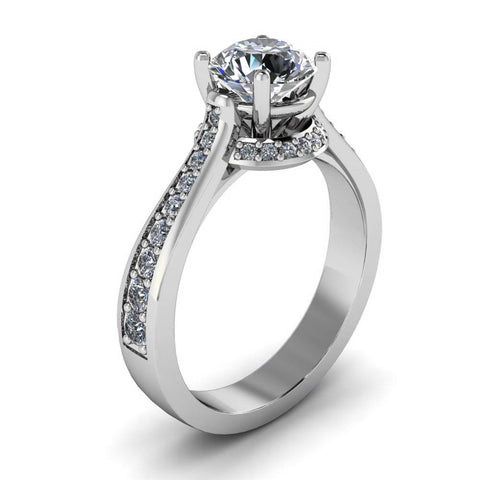 Moissanite Diamond Engagement Ring Forever One Center - Aura - Moissanite Rings