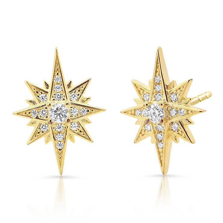 Large Diamond North Star Earrings