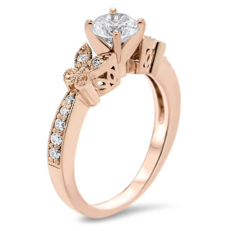 Diamond Butterfly Style Engagement Ring and Matching Band  - Butterfly Kisses Wedding Set - Moissanite Rings