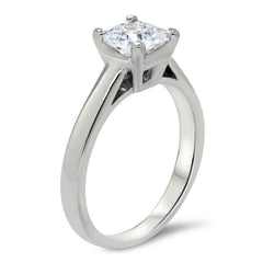 Princess Cut Solitaire Forever One Engagement Ring - Kim - Moissanite Rings