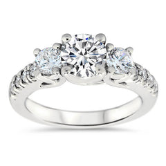 Three Stone Diamond Engagement Ring Moissanite Center  - Kimber - Moissanite Rings