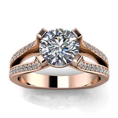 Split Shank Diamond Accented Moissanite Engagement Ring - Samuel