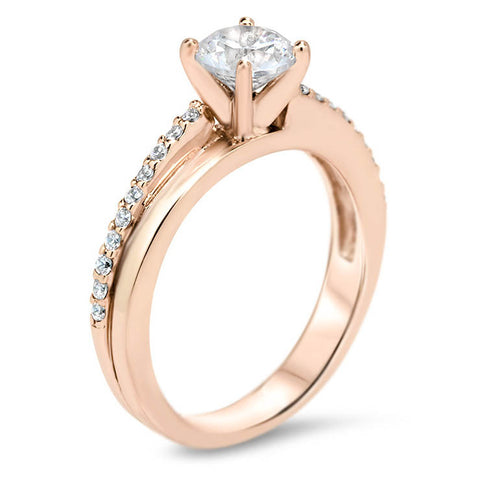 Diamond Bypass Style Moissanite Engagement Ring -  Cas - Moissanite Rings