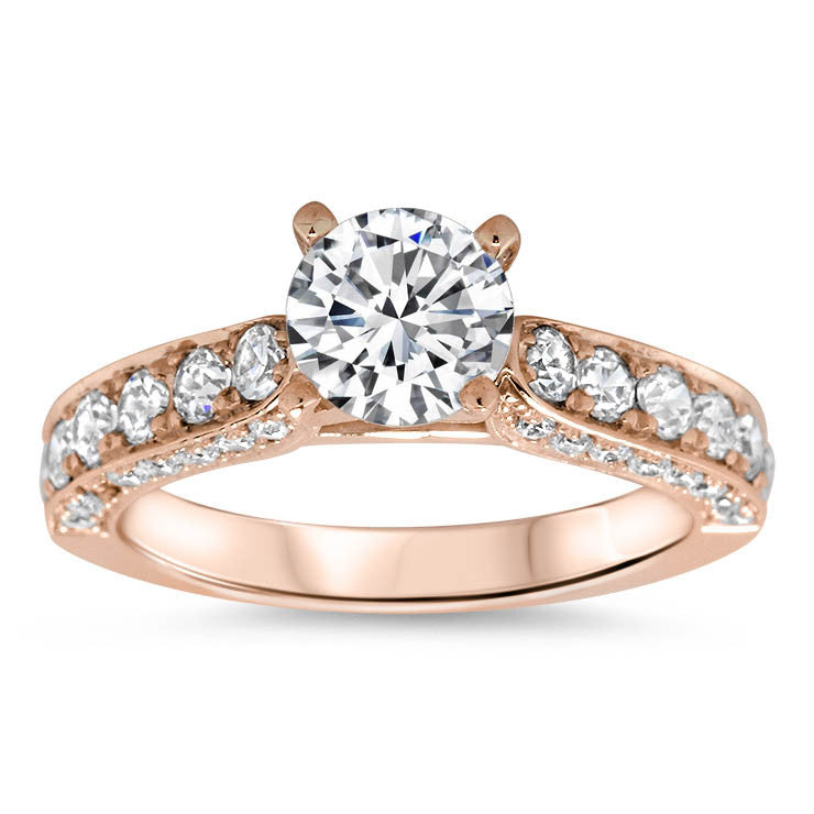 Diamond Covered Engagement Ring Setting Moissanite Center- Hazel - Moissanite Rings
