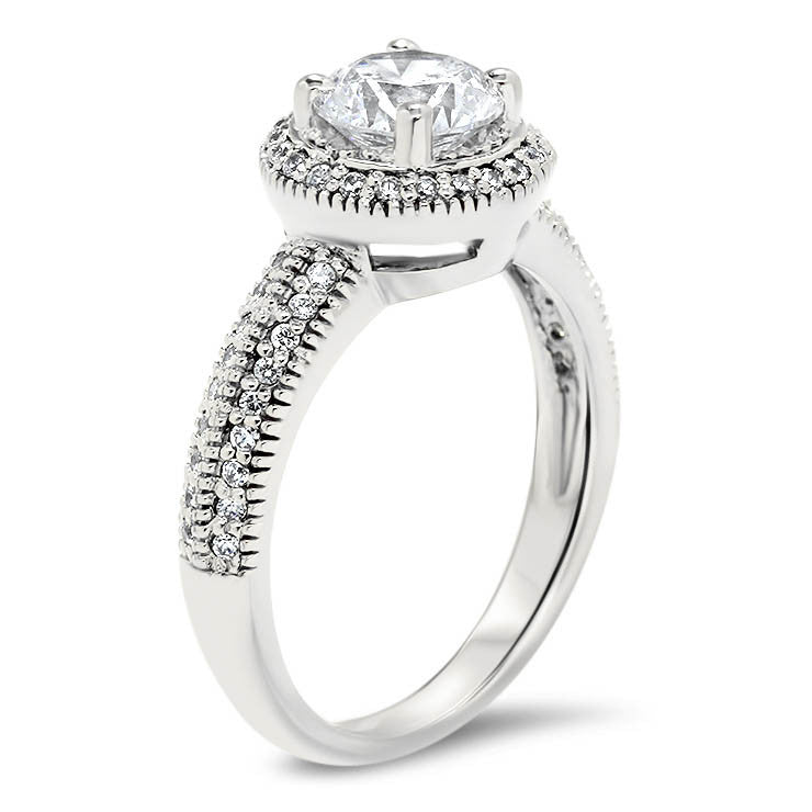 Millgrain Knife Edge Diamond Halo Moissanite Center Engagement Ring - Cindy