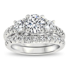 Three Stone Engagement Ring Set - Kimber Wedding Set - Moissanite Rings