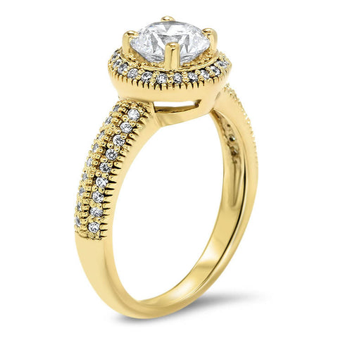 Millgrain Knife Edge Diamond Halo Moissanite Center Engagement Ring - Cindy - Moissanite Rings