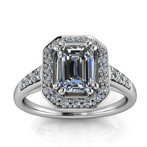 Emerald Cut Moissanite Engagement Ring - Corinna - Moissanite Rings