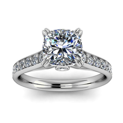 Cushion Cut Engagement Ring Diamond Setting Forever One Moissanite - New Era - Moissanite Rings