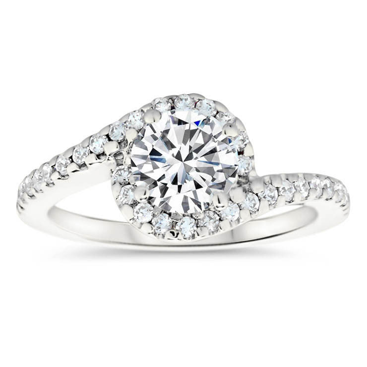 Bypass Diamond Halo Engagement Ring and Wedding Band - Whirlwind Matching Set - Moissanite Rings