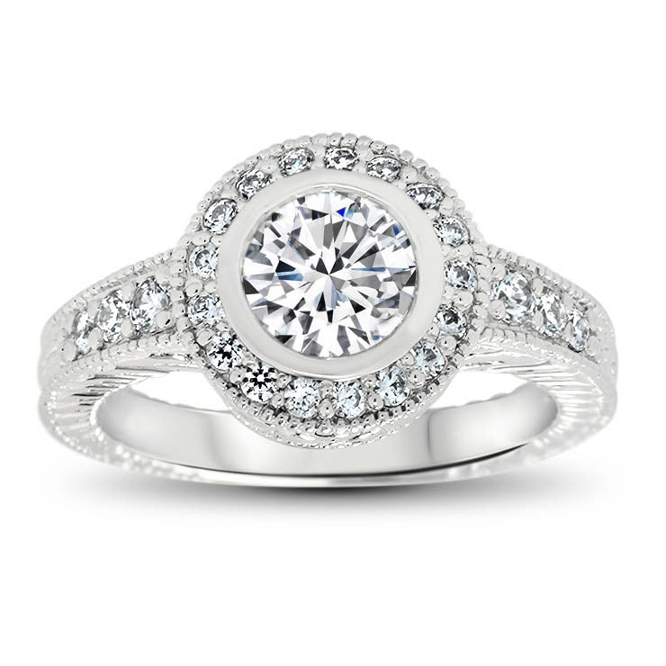 Bezel Set Diamond Engagement Ring and Matching Wedding Band - Callie Set - Moissanite Rings