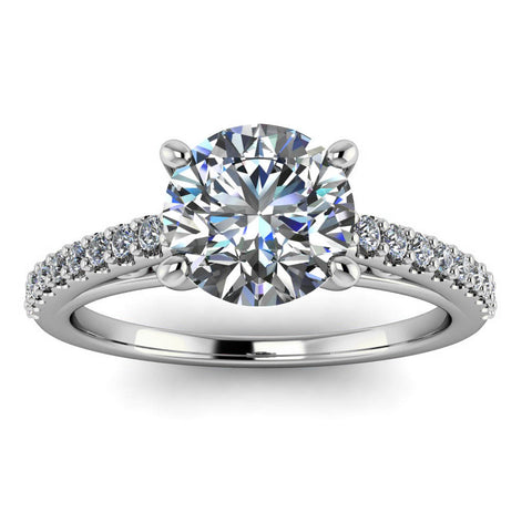 Cathedral Diamond Engagement Ring Setting Moissanite Center - Abigail - Moissanite Rings