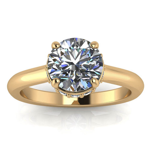 Belted Diamond Solitaire Moissanite Center Engagement Ring - Shy - Moissanite Rings