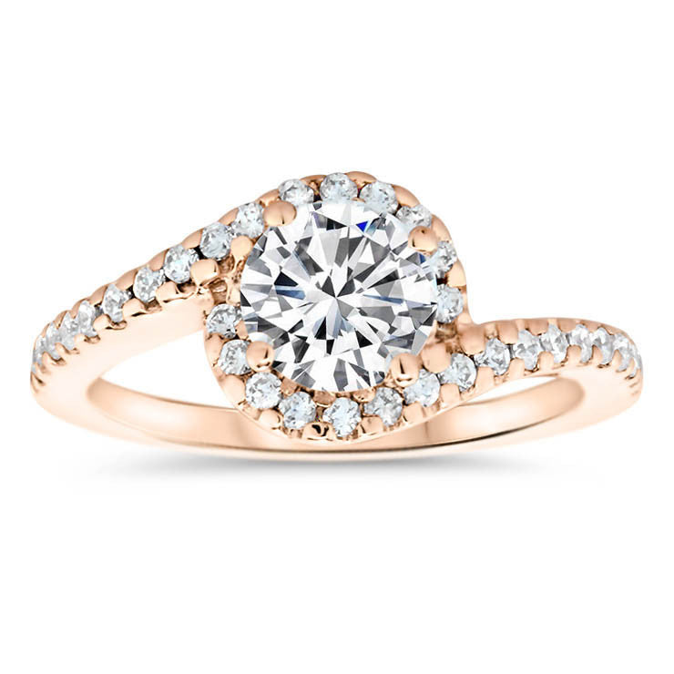 Bypass Diamond Halo Forever One Moissanite Engagement Ring - Whirlwind - Moissanite Rings